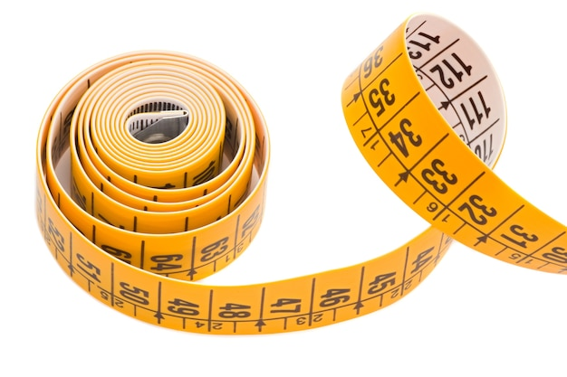 Tape rolled yellow a over white background