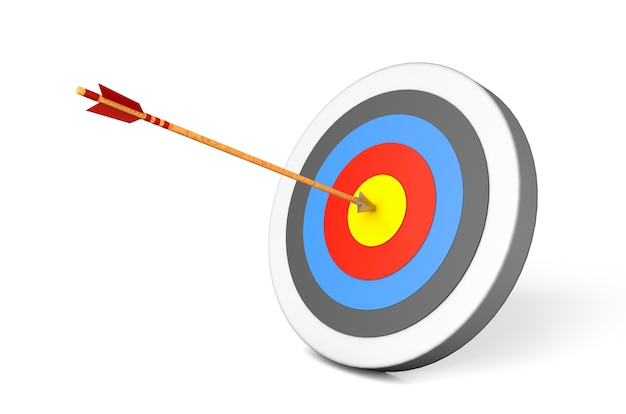 Target and arrow in the center. isolated on white background. 3d render.