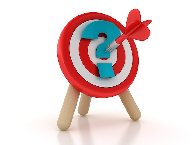Target and darts with question mark