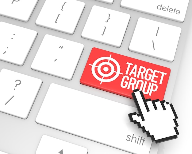 Target group enter key with hand cursor. 3d rendering