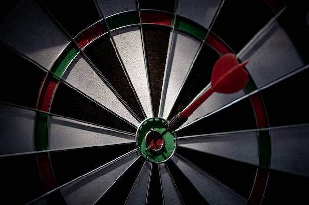 Target hit in the center by darts