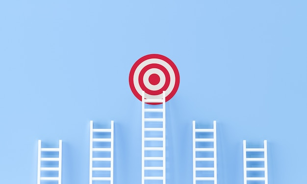 Target ladder achievement concept on blue wall studio background. target, success concept with copy spaces for text.