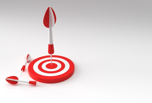 Цель со стрелкой 3d-дизайн для спортивных игр и бизнес-дизайна.