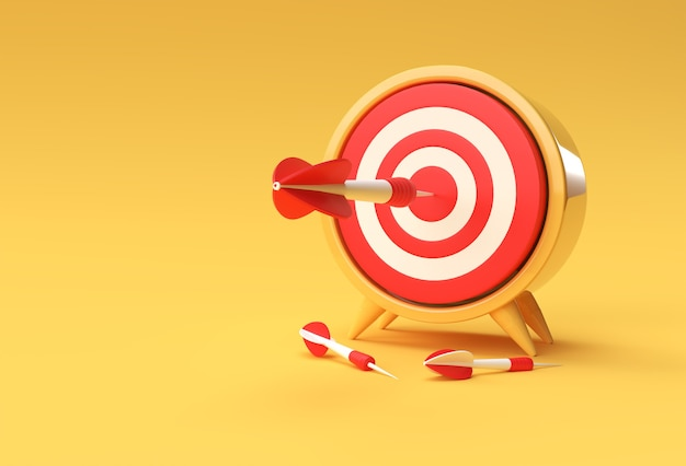 Target with arrow 3d design for sport game and business design.