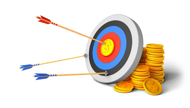 Target with arrow and money successfully hit the center on a gold coin pile of gold coins