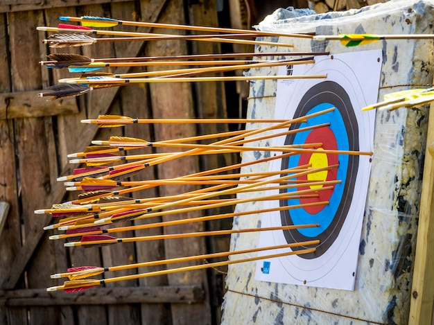 Target with arrows, archery competition for accuracy