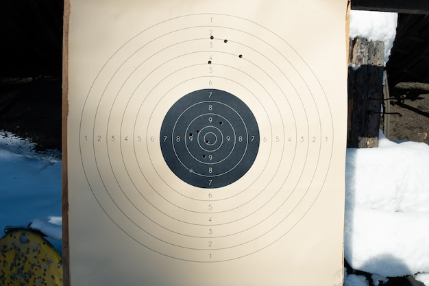 Target with numbers for shooting at a shooting range