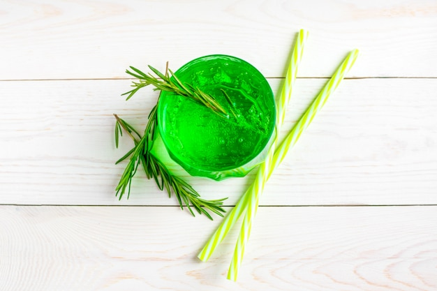 Tarhun is a sweet, non-alcoholic carbonated soft lemonade drink of emerald green color