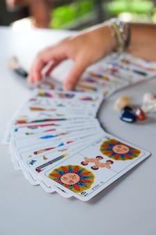 Tarot reader picking tarot cards. tarot reader or fortune teller reading and forecasting concept.
