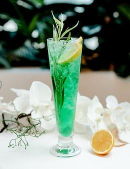 Tarragon with lemon slice and ice