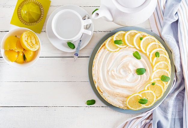 Tart with lemon curd  and meringue. lemon  pie. american cuisine.