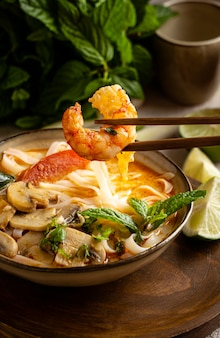 Tasty arrangement of noodles on a table
