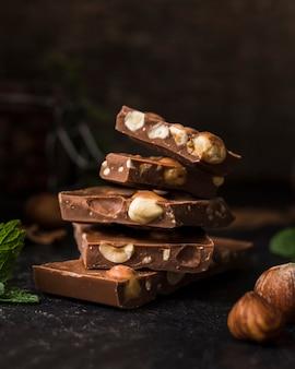 Tasty bars of hazelnut chocolate