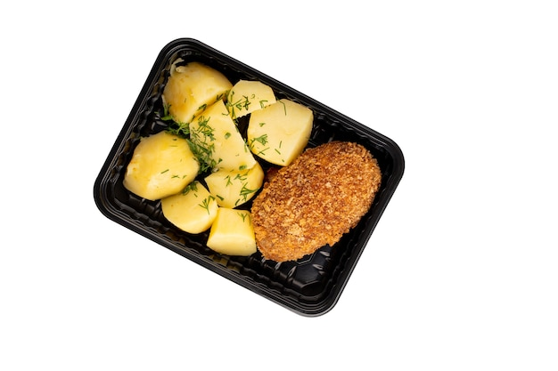 Tasty boiled potato and cutlet food delivery isolated plastic container on white background