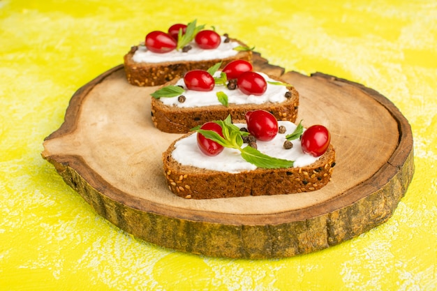 Tasty bread toasts with sour cream and dogwoods on yellow