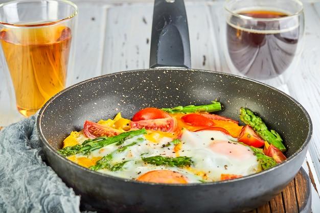 Tasty breakfast. fried eggs in a pan with coffee