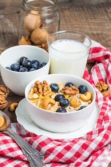 Tasty breakfast with cereals