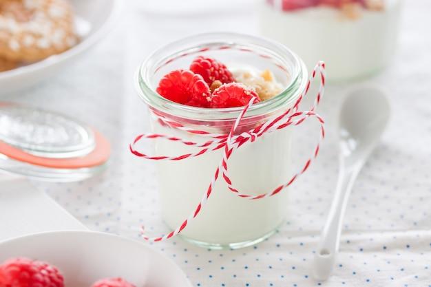 Tasty breakfast with greek yogurt
