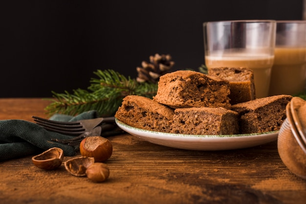Tasty brownies with chestnuts