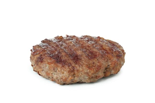 白い背景で隔離のおいしいハンバーガー肉