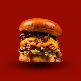 아름다운 배경의 맛있는 버거 뜨거운 햄버거 건강식