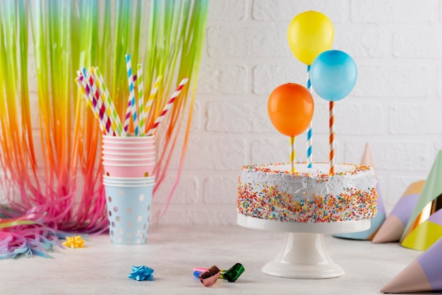 Tasty cake and balloons assortment
