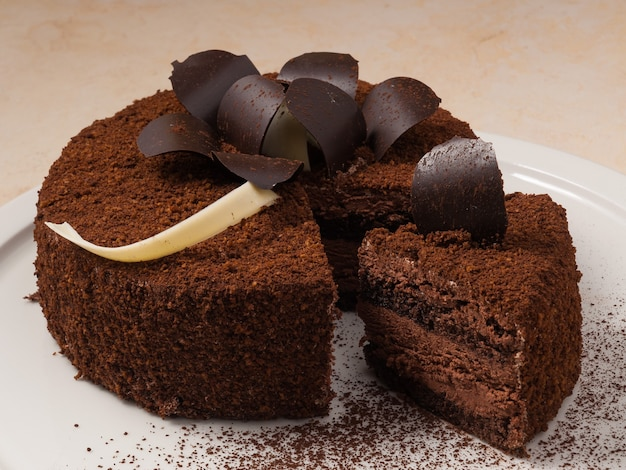 Tasty cake with a rich chocolate flavor truffle decorated with chocolate