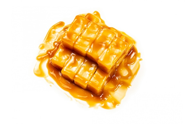 Tasty caramel candy isolated.