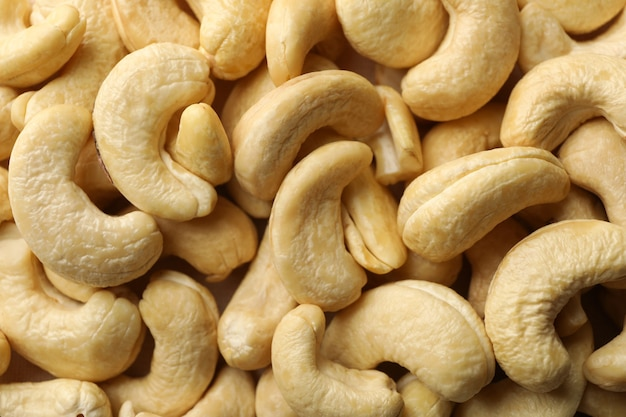 Tasty cashew nuts top view close up