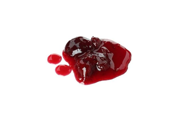 Tasty cherry jam isolated on white background
