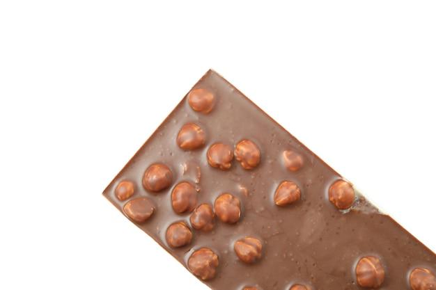 白い背景に分離されたおいしいチョコレート バー