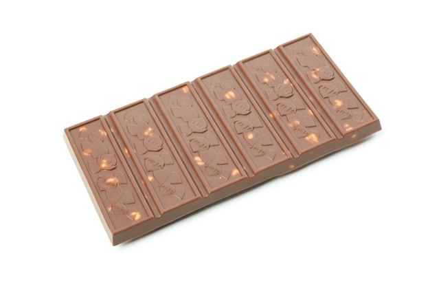 Вкусная плитка шоколада, изолированные на белом фоне