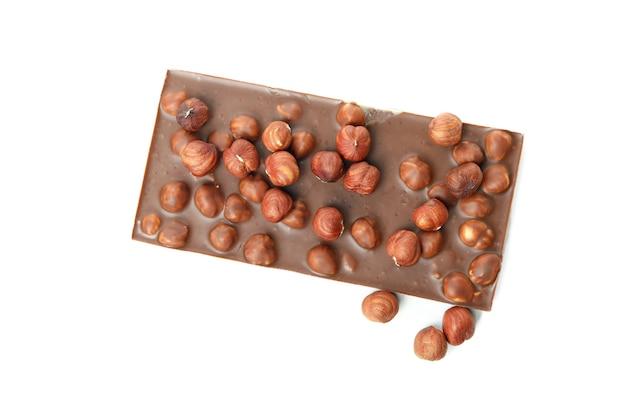 Tasty chocolate bar isolated on white background