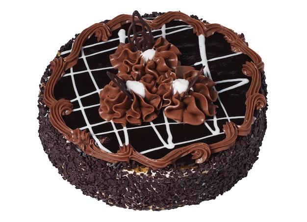 Tasty chocolate cake isolated on white background
