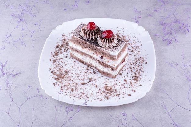 하얀 접시에 맛있는 초콜릿 케이크. 고품질 사진
