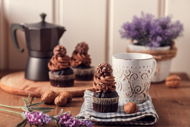 Tasty chocolate cupcakes.