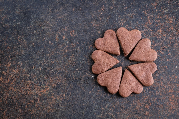Tasty chocolate heart shaped cookies for valentines day