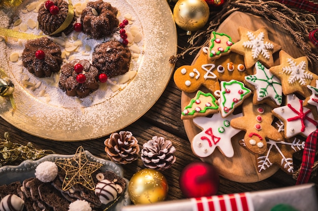 Tasty christmas cookies with different shapes