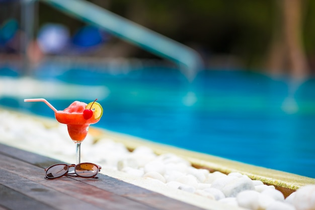 Tasty cocktail swimming pool