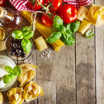 Tasty colorful fresh italian food concept with various pasta spaghetti