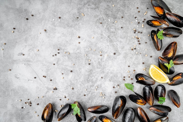 Tasty cooked mussels with copy space