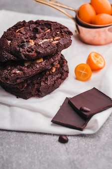 Tasty cookies with chocolate topping