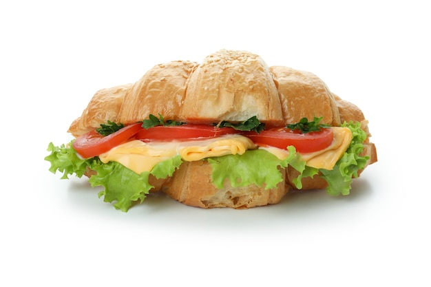 白で隔離のおいしいクロワッサンサンドイッチ