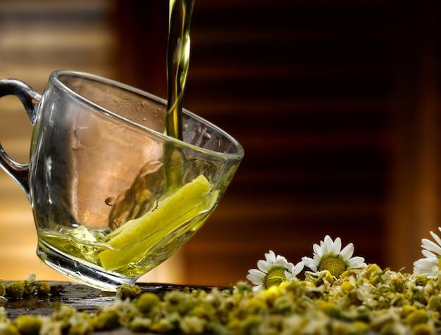Tasty cup of chamomile tea