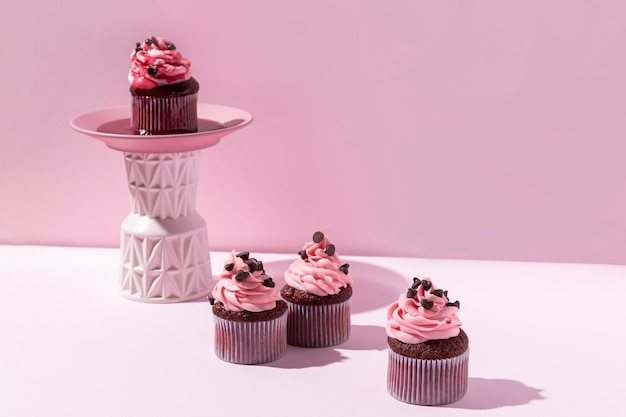 Tasty cupcakes with chocolate chips