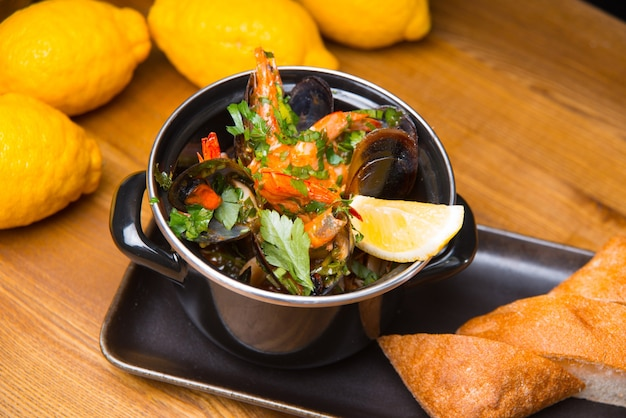 Tasty delicious fresh mussels boiled in a pan, sea food