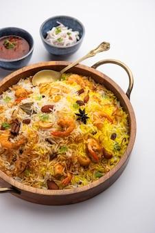 Tasty and delicious prawns biryani, jheenga pulav or shrimp pilaf