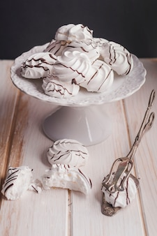 Tasty dessert with chocolate topping