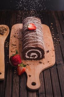 Tasty dessert with glazed topping
