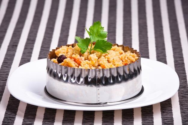 Tasty dish on a tablecloth